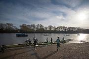 Putney, London, Varsity, Tideway Week, 5th April 2019, Embankment,CUWBC Blue Boat,  Oxford?Cambridge Media week, Championship Course,<br /> [Mandatory Credit: Peter SPURRIER], Friday,  05.04.19,