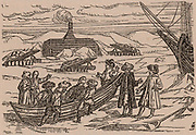 Willem Barents (d1597) Dutch navigator who led expeditions in search of the Northeast Passage. Barents' expedition in winter quarters off Novaya Zemlya. In the background is the livinging hut surrounded by shelters for stores. Engraving after Gerrit de Veer's account of Barents's voyages (1858).