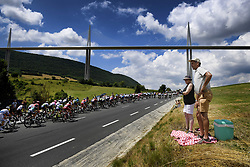 July 22, 2018 - Mende, FRANCE - Illustration picture shows the pack of riders passing the Millau Viaduct during the 15th stage in the 105th edition of the Tour de France cycling race, from Millau to Carcassone (181,5km), France, Sunday 22 July 2018. This year's Tour de France takes place from July 7th to July 29th. BELGA PHOTO YORICK JANSENS (Credit Image: © Yorick Jansens/Belga via ZUMA Press)