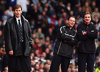 02/02/2003 West Ham v Liverpool, FA Barclaycard Premiership, Upton Park<br />Phil Thompson shares a joke with Rob Styles, but Glenn Roeder cannot see the funny side<br />Photo. Javier Garcia, Digitalsport