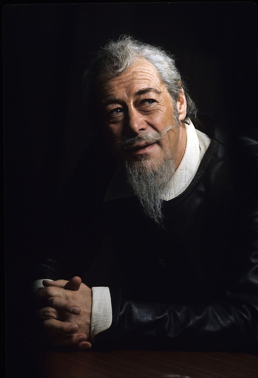 British actor Rex Harrison seen dressed in costume for a production of 'Don Quixote' . 1972. Photographed by Terry Fincher