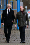 Greek economist Yanis Varoufakis and Julian Assange's father John Shipton, leave HMP Belmarsh in London, after visiting Julian Assange in prison on Sunday, Feb. 23, 2020. (Photo/Vudi Xhymshiti)