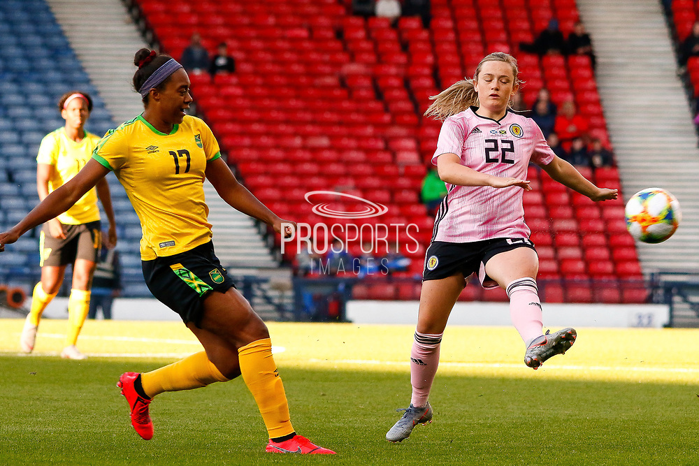 Scotlands Erin CUTHBERT (Chelsea FCW (ENG)) tries to intercept the pass from Allyson SWABY (AS Roma (ITA)) during the International Friendly match between Scotland Women and Jamaica Women at Hampden Park, Glasgow, United Kingdom on 28 May 2019.