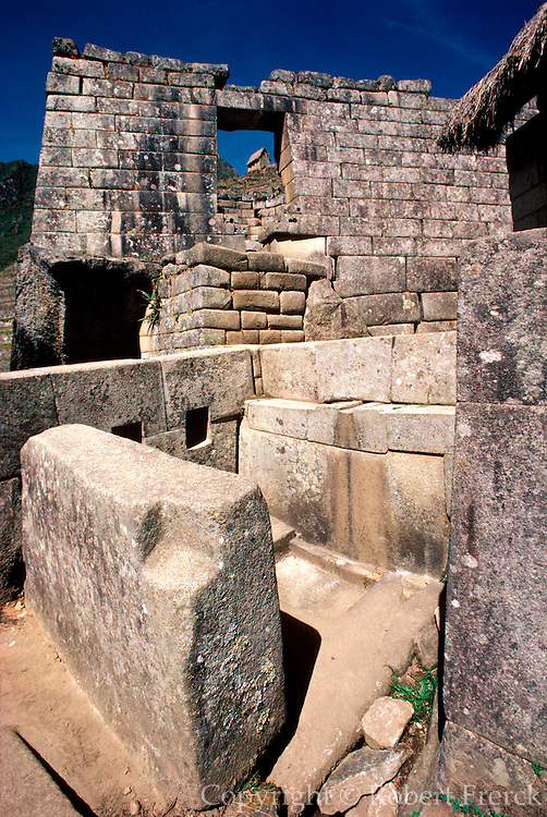 PERU, PREHISPANIC, INCA Machu Picchu; Temple of the Sun