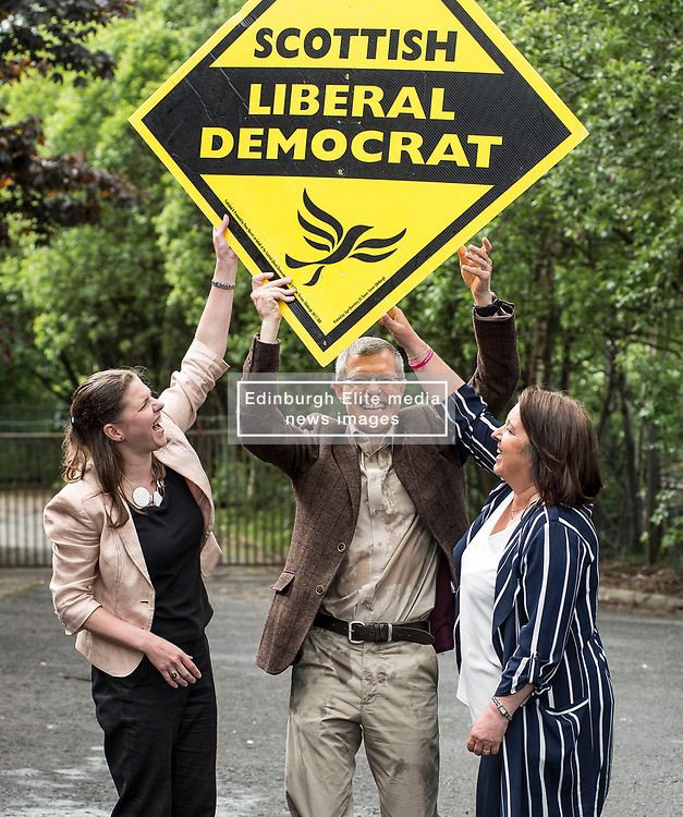 Scottish Lib Dem leader Willie Rennie celebrates quadrupling the party's MP's at the general election, with new MP's Jo SWinson and Christine Jardine.<br /> <br /> © Dave Johnston/ EEm