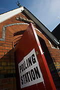 The open doorway of St Peter's Primary School, Ebury Street, Belgravia that serves as a temporary polling station for voters on Britain's general election day.