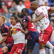 Jamison Olave, (right), New York Red Bulls, heads over the bar from close range watched by, from left, Jeff Larentowicz, Chicago Fire, Tim Cahill, New York Red Bulls and Jhon Kennedy Hurtado, Chicago Fire during the New York Red Bulls Vs Chicago Fire, Major League Soccer regular season match won 5-4 by the Chicago Fire at Red Bull Arena, Harrison, New Jersey. USA. 10th May 2014. Photo Tim Clayton
