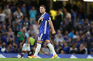 John Terry, the Chelsea captain celebrates towards the fans after the final whistle. Premier league match, Chelsea v West Ham United at Stamford Bridge in London on Monday 15th August 2016.<br /> pic by John Patrick Fletcher, Andrew Orchard sports photography.
