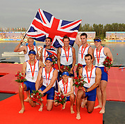 Shunyi, CHINA. GBR M8+,  Men's eights final, Silver medalist GBR M8+, (b), PARTRIDGE Alex, STALLARD Tom<br /> LUCY Tom, EGINGTON Richard, WEST Josh, HEATHCOTE Alastair<br /> LANGRIDGE Matt, SMITH Colin and Cox, NETHERCOTT Acer, Bronze Awards Dock,  at the 2008 Olympic Regatta, Shunyi Rowing Course.  17/08/2008 [Mandatory Credit: Peter SPURRIER, Intersport Images