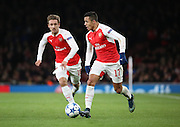Arsenal striker Alexis Sanchez setting up an attack during the Champions League match between Arsenal and Dinamo Zagreb at the Emirates Stadium, London, England on 24 November 2015. Photo by Matthew Redman.