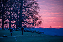 © Licensed to London News Pictures. 12/02/2021. London, UK. Walkers enjoy a spectacular sunrise this morning in Richmond Park, South West London as the big freeze continues with overnight temperatures down to -5c. The Met Office have issue further weather warnings for extreme cold over the weekend with temperatures dropping to as low as -10c in the South East. The freezing weather and travel chaos is expected to last until Sunday. Photo credit: Alex Lentati/LNP