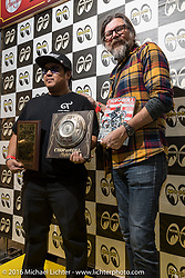 Giuseppe Roncen after giving his Chop and Roll Magazine award at the Mooneyes Yokohama Hot Rod & Custom Show. Yokohama, Japan. December 4, 2016.  Photography ©2016 Michael Lichter.