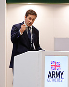 London, United Kingdom - 12 September 2019<br /> Johnny Mercer MP, Parliamentary Under-Secretary of State for Defence People and Veterans for the UK Government gives a keynote address speech and answers questions from the audience at DSEI 2019 security, defence and arms fair at ExCeL London exhibition centre.<br /> (photo by: EQUINOXFEATURES.COM)<br /> Picture Data:<br /> Photographer: Equinox Features<br /> Copyright: ©2019 Equinox Licensing Ltd. +443700 780000<br /> Contact: Equinox Features<br /> Date Taken: 20190912<br /> Time Taken: 10195090<br /> www.newspics.com