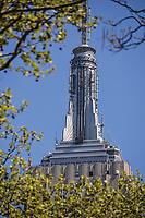 Empire State building spire through the trees of Madison Square park, New York City.