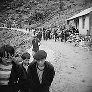 Hilltribe people make their way down to a local market, Ha Giang Province, Vietnam, Southeast Asia