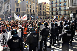 September 29, 2018 - Barcelona, Catalonia, Spain - Catalan riot police seen standing against pro-independence protesters in Barcelona during the protest..Clashes between pro-independence protesters and Catalan riot police during the protest of the JUSAPOL Police Syndicate that was in Barcelona demonstrating for wage equality and tribute to the National Police that prevented the referendum of 1 October. (Credit Image: © Ramon Costa/SOPA Images via ZUMA Wire)