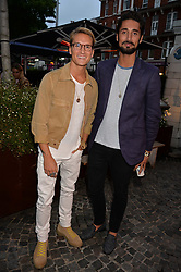 Oliver Proudlock and Hugo Taylor at the Aspall Tennis Classic Players Party hosted by Aspall and Taylor Morris Eyewear at Bluebird, 350 King's Road, Chelsea, London England. 28 June 2017.<br /> Photo by Dominic O'Neill/SilverHub 0203 174 1069/ 07711972644 - Editors@silverhubmedia.com