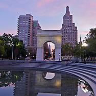 Washington Square Park, Washington Square Arch, designed by McKim Mead & White,  Manhattan, New York City, New York, USA