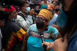 Miriam Miranda, leader of the Garifuna organisation OFRANEH, speaks to media as sentence is passed on David Castillo for the assassination of Berta Cáceres.