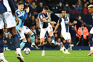 West Bromwich Albion midfielder Alex Mowatt (27) takes a shot at goal during the EFL Sky Bet Championship match between West Bromwich Albion and Derby County at The Hawthorns, West Bromwich, England on 14 September 2021.