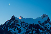 Paine Grande and crescent moon, Torres del Paine National Park, Chile