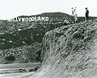 1924 Filming at the Hollywoodland sign