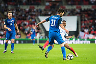 Slovakia (21) Michal DURIS, (22) Raheem Sterling during the FIFA World Cup Qualifier match between England and Slovakia at Wembley Stadium, London, England on 4 September 2017. Photo by Sebastian Frej.