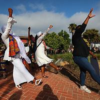 Juneteenth marchers arrived at Santa Cruz City Hall with music, dance and spirit on Friday. (Shmuel Thaler — Santa Cruz Sentinel)