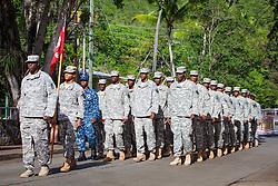 National Guard Unit 1011 Engineers.  St. John Veterans Day Parade in Cruz Bay.  Frank Powell Park.  St. John, USVI.  8 November 2015.  © Aisha-Zakiya Boyd