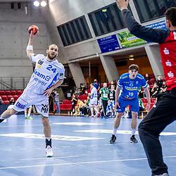 Marcel Schiller (FRISCH AUF! Goeppingen #24) ; Primoz Prost (TVB Stuttgart #16) ; LIQUI MOLY HBL 20/21  1. Handball-Bundesliga: TVB Stuttgart - FRISCH AUF! Goeppingen am 24.04.2021 in Stuttgart (SCHARRena), Baden-Wuerttemberg, Deutschland beim Spiel in der Handball Bundesliga, TVB 1898 Stuttgart - FRISCH AUF! Goeppingen.<br /> <br /> Foto © PIX-Sportfotos *** Foto ist honorarpflichtig! *** Auf Anfrage in hoeherer Qualitaet/Aufloesung. Belegexemplar erbeten. Veroeffentlichung ausschliesslich fuer journalistisch-publizistische Zwecke. For editorial use only.