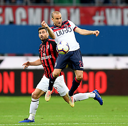 MILAN, May 7, 2019  AC Milan's Mateo Musacchio (L) vies with Bologna's Rodrigo Palacio during a Serie A soccer match between AC Milan and Bologna in Milan, Italy, May 6, 2019. AC Milan won 2-1. (Credit Image: © Daniele Mascolo/Xinhua via ZUMA Wire)