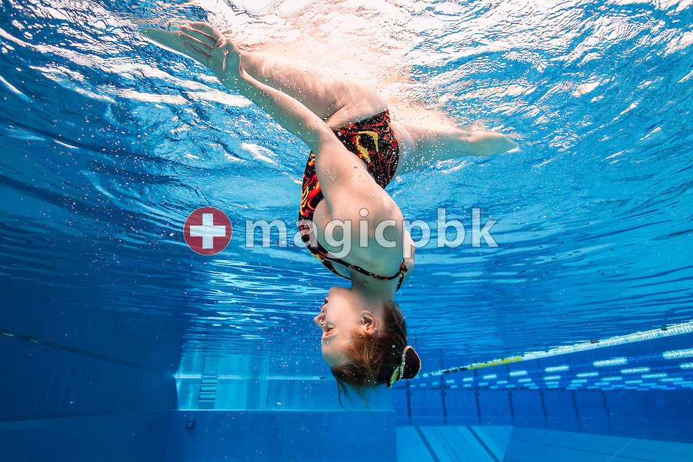 SV Basel's synchronised swimming team preforms during an under water photo session at the Sportbad St. Jakob in Basel, Switzerland, Saturday, May 23, 2015. (Photo by Patrick B. Kraemer / MAGICPBK)