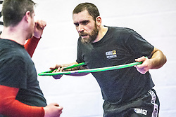 Using the hoop as a prop, Stef Noij, KMG Instructor from the Institute Krav Maga Netherlands, at the IKMS G Level Programme seminar today at the Scottish Martial Arts Centre, Alloa.