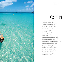 Snorkeler in the shallows at Lizard Island, far north Queensland, for contents page spread for Australia In Style