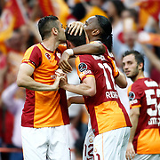 Galatasaray's Albert Riera Ortega (C) celebrate his goal with team mate during their Turkish superleague soccer derby match Galatasaray between Trabzonspor at the AliSamiYen spor kompleksi TT Arena in Istanbul Turkey on Saturday, 18 May 2013. Photo by Aykut AKICI/TURKPIX
