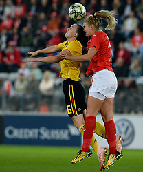 October 9, 2018 - Biel, SWITZERLAND - Belgium's Tine De Caigny and Switzerland's defender Rahel Kiwic pictured in action during a soccer game between Switzerland and Belgium's national team the Red Flames, Tuesday 09 October 2018, in Biel, Switzerland, the return leg of the play-offs qualification games for the women's 2019 World Cup. BELGA PHOTO DAVID CATRY (Credit Image: © David Catry/Belga via ZUMA Press)