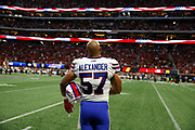 Buffalo Bills linebacker Lorenzo Alexander (27) stands for the national anthem before a week 4 NFL football game against the Atlanta Falcons on Sunday, Oct. 1, 2017 in Atlanta, GA. (Mike Zarrilli/AP Images for Panini, via AP)