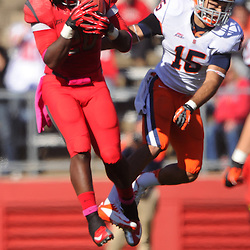 Oct 13, 2012: Rutgers Scarlet Knights linebacker Khaseem Greene (20) intercepts a pass intended for Syracuse Orange wide receiver Alec Lemon (15) during NCAA Big East college football action between the Rutgers Scarlet Knights and Syracuse Orange at High Point Solutions Stadium in Piscataway, N.J.