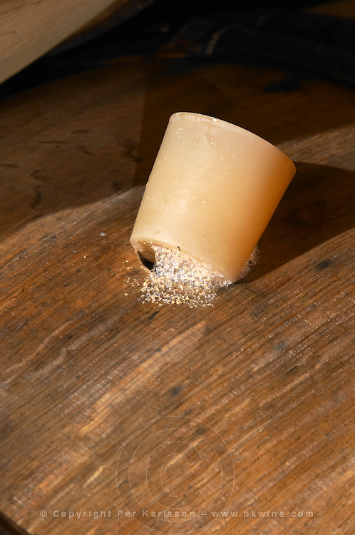 silicone bung stopper on barrel fermenting white wine chardonnay domaine guyot marsannay cote de nuits burgundy france
