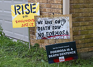 Protest signs at Sharon Lavignes house in St. James, LA.
