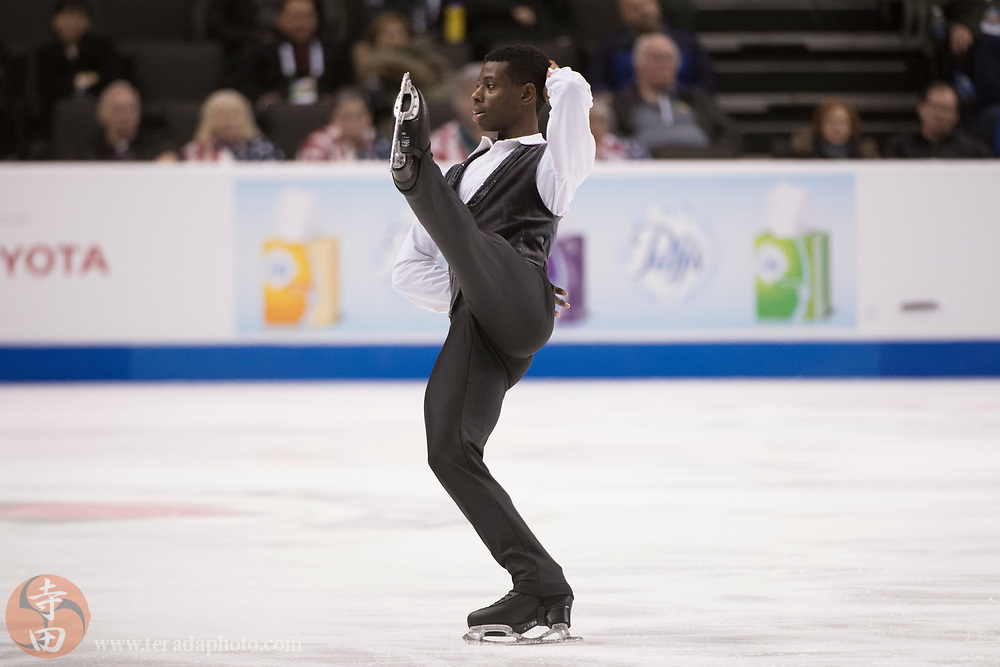January 4, 2018; San Jose, CA, USA; Emmanuel Savary performs in the mens short program during the 2018 U.S. Figure Skating Championships at SAP Center.