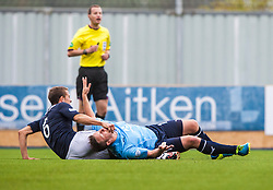 Falkirk's Will Vaulks in action with Dundee's Steven Doris.<br /> Falkirk 3 v 1 Dundee, 21/9/2013.<br /> ©Michael Schofield.