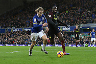 Tom Davies of Everton gets away from Yaya Toure of Manchester City. Premier league match, Everton v Manchester City at Goodison Park in Liverpool, Merseyside on Sunday 15th January 2017.<br /> pic by Chris Stading, Andrew Orchard sports photography.