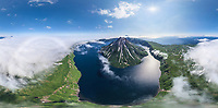 Panoramic aerial view of North Kurile Islands, Kamchatka, Russia