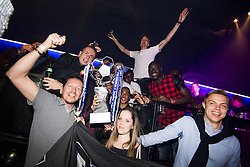 May 22, 2017 - Willebroek, BELGIUM - Anderlecht's players celebrate during a party in the Carre Discotheque after Belgian soccer team RSC Anderlecht won their 34th title, Sunday 21 May 2017 in Willebroek. BELGA PHOTO JASPER JACOBS (Credit Image: © Jasper Jacobs/Belga via ZUMA Press)