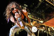 Steven Tyler of Aerosmith performing at Verizon Wireless Amphitheater on their tour opener on June 11, 2009.