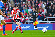 George Honeyman of Sunderland (10) passes the ball during the EFL Sky Bet League 1 first leg Play Off match between Sunderland and Portsmouth at the Stadium Of Light, Sunderland, England on 11 May 2019.