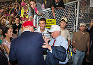 Mobile, Ala., on August 21, 2015, U.S. Senator Jeff Sessions with Donald Trump  the night Sessions endoresed Trump at the  rally at Ladd-Peebles Stadium.
