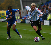 Photo: Steve Bond.<br /> Shrewsbury Town v Chesterfield. Coca Cola League 2. 13/10/2007. Felix Bastians (R) is pursued by Chris Humphrey