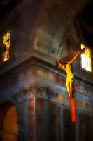 """Heavenly lights illuminate the crucifix - Sorrento Cathedral - Painting by Dino Carbetta""…<br />